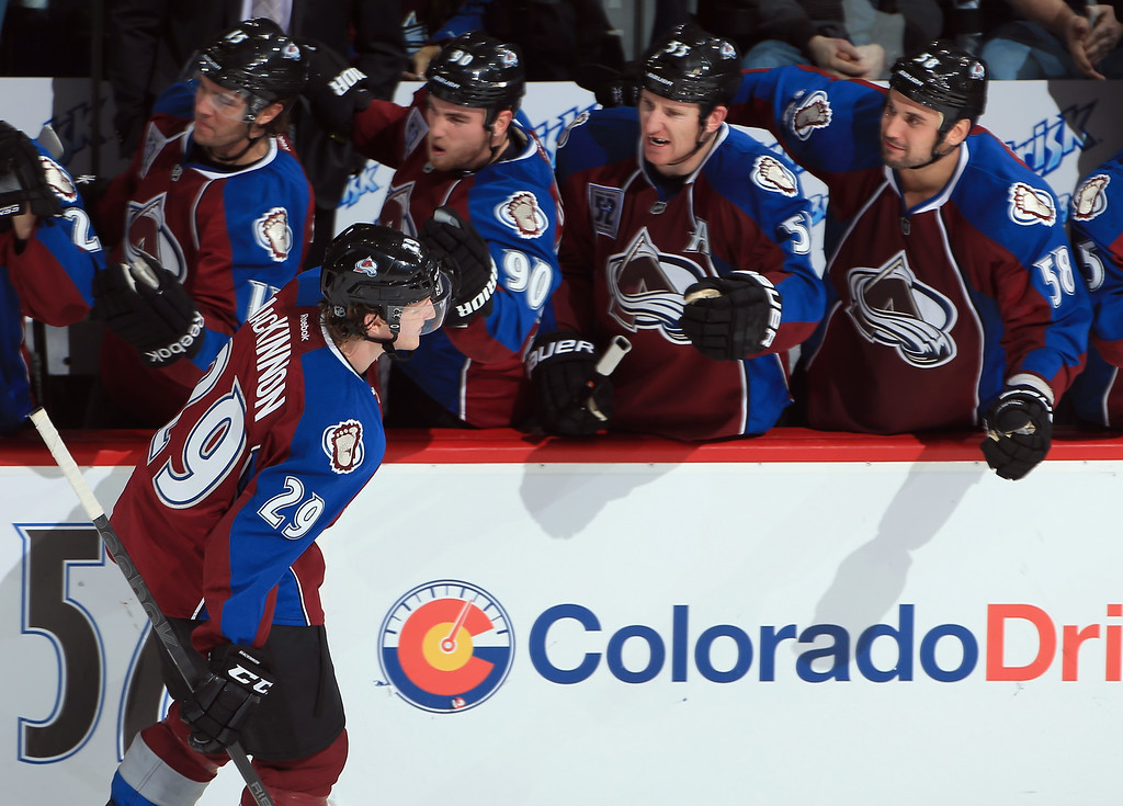 . DENVER, CO - NOVEMBER 02:  Nathan MacKinnon #29 of the Colorado Avalanche celebrates his goal against the Montreal Canadiens to take a 2-1 lead in the third period at Pepsi Center on November 2, 2013 in Denver, Colorado. The Avalanche defeated the Canadiens 4-1.  (Photo by Doug Pensinger/Getty Images)