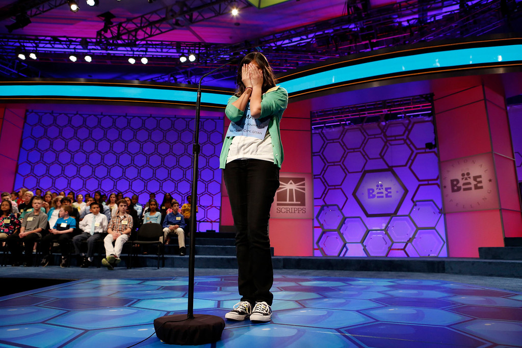 . Vismaya Kharkar of Bountiful, Utah, concentrates during the final round of the National Spelling Bee at National Harbor in Maryland May 30, 2013. Arvind Mahankali of New York won the event. REUTERS/Kevin Lamarque