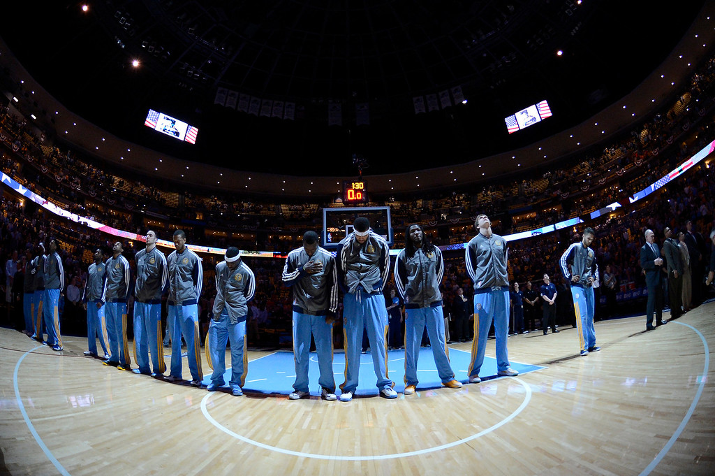. The Nuggets line up for the National Anthem before the start of the game. The Denver Nuggets took on the Golden State Warriors in Game 5 of the Western Conference First Round Series at the Pepsi Center in Denver, Colo. on April 30, 2013. (Photo by John Leyba/The Denver Post)