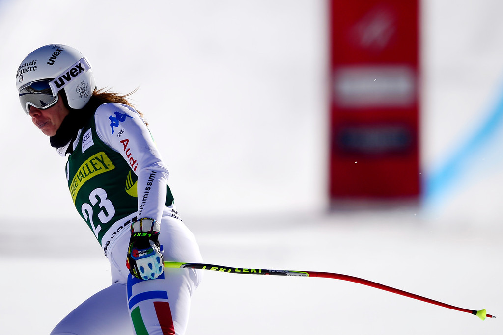 . Francesca Marsaglia of Italy finishes her run.   (Photo by AAron Ontiveroz/The Denver Post)