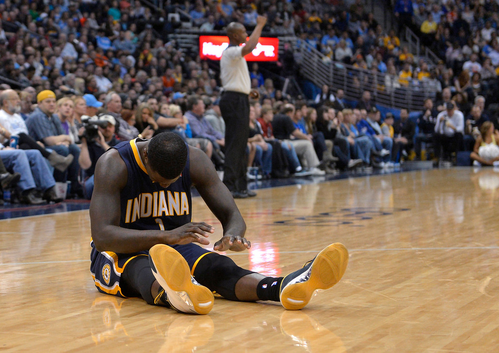 . Indiana Pacers guard Lance Stephenson reacts to turning over the ball to the Denver Nuggets during the fourth quarter of an NBA basketball game Saturday, Jan. 25, 2014, in Denver. Denver defeated Indiana 109-96. (AP Photo/Jack Dempsey)