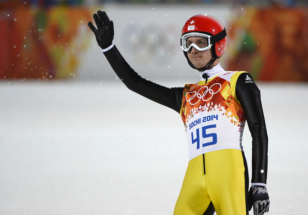 . Switzerland\'s Simon Ammann reacts after the Men\'s Ski Jumping Large Hill Individual Final Round at the RusSki Gorki Jumping Center during the Sochi Winter Olympics on February 15, 2014, in Rosa Khutor. PIERRE-PHILIPPE MARCOU/AFP/Getty Images