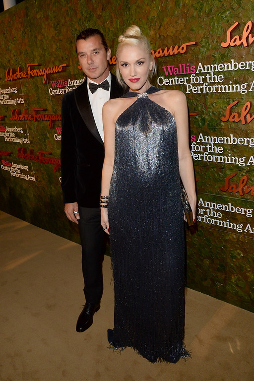 . Musicians Gwen Stefani (R) and Gavin Rossdale arrive at the Wallis Annenberg Center for the Performing Arts Inaugural Gala presented by Salvatore Ferragamo at the Wallis Annenberg Center for the Performing Arts on October 17, 2013 in Beverly Hills, California.  (Photo by Jason Merritt/Getty Images for Wallis Annenberg Center for the Performing Arts)