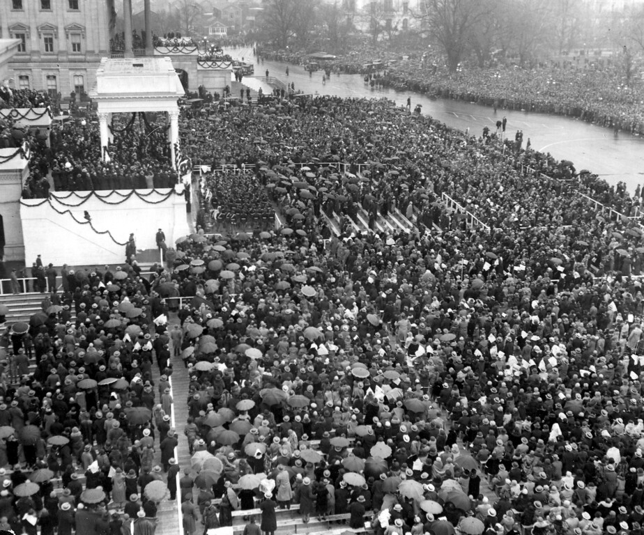 . Thousands of people gather in the rain for the inauguration of President-elect Herbert C. Hoover on the East Portico of the Capitol building in Washington, D.C., on March 4, 1929. Herbert Hoover was sworn in as the 31st president of the United States.  (AP Photo)