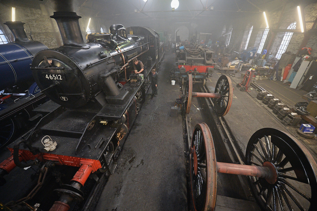 . A 1952 British Rail Ivatt number 46512 is prepared in the engine shed at Strathspey Steam Railway on August 27, 2013 in Aviemore,Scotland.  (Photo by Jeff J Mitchell/Getty Images)