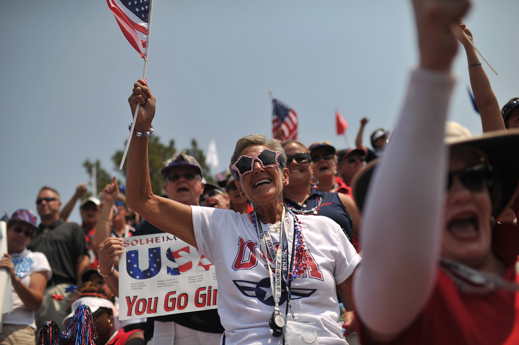 . PARKER, CO. - August 16: Fans cheer U.S.A.team by 1st tee ground during 2013 Solheim Cup at Colorado Golf Club. Parker, Colorado. August 16, 2013. (Photo By Hyoung Chang/The Denver Post)
