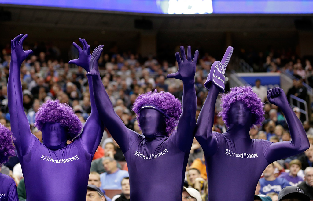 . Albany Great Danes fans cheer on their team in the first half while taking on the Duke Blue Devils during the second round of the 2013 NCAA Men\'s Basketball Tournament on March 22, 2013 at Wells Fargo Center in Philadelphia, Pennsylvania.  (Photo by Rob Carr/Getty Images)