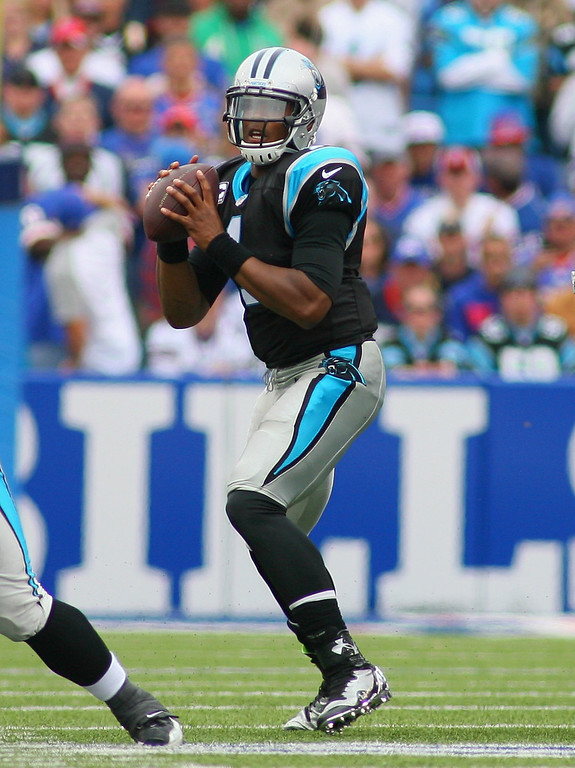 . Cam Newton #1 of the Carolina Panthers looks to throw against the Buffalo Bills at Ralph Wilson Stadium on September 15, 2013 in Orchard Park, New York.  (Photo by Rick Stewart/Getty Images)