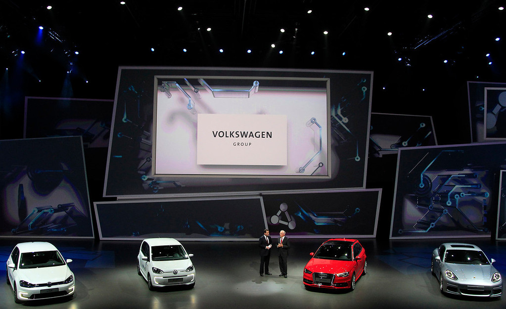 . The Volkswagen Group electric cars are on display during a preview by the Volkswagen Group prior to the 65th Frankfurt Auto Show in Frankfurt, Germany, Monday, Sept. 9, 2013. More than 1,000 exhibitors will show their products to the public from Sept. 12 through Sept. 22, 2013. (AP Photo/Frank Augstein)