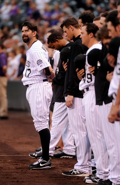 . DENVER, CO. - SEPTEMBER 4: Todd Helton stood for the National Anthem. The Colorado Rockies defeated the Los Angeles Dodgers 7-5 at Coors Field Wednesday night, September 4, 2013.  Photo By Karl Gehring/The Denver Post
