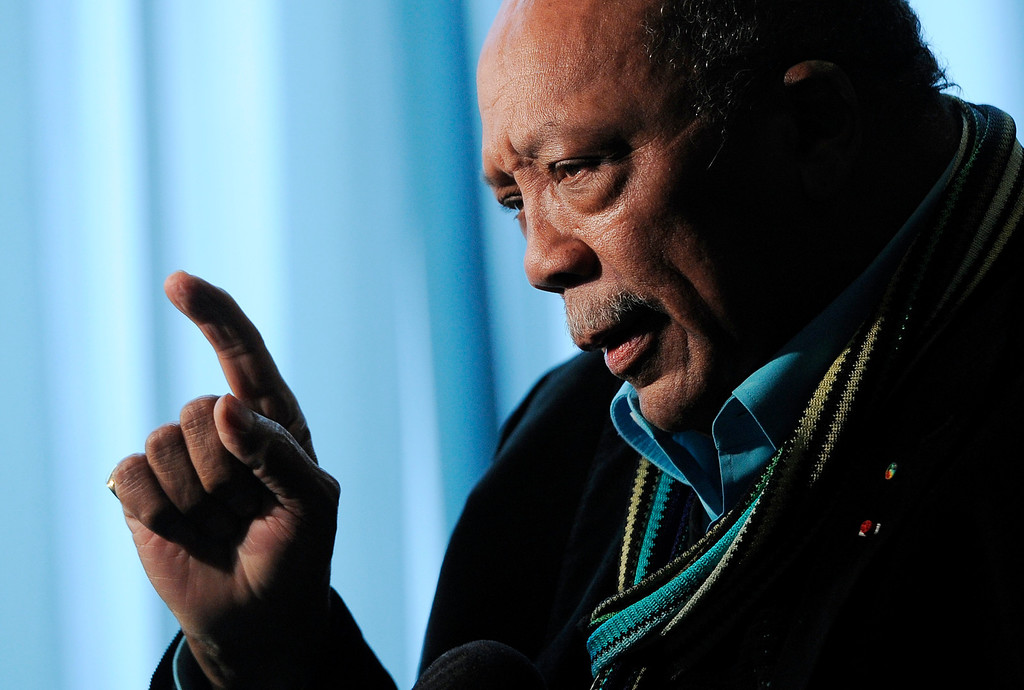 . Rock and Roll Hall of Fame inductee Quincy Jones is interviewed following a news conference to announce the 2013 inductees, Tuesday, Dec. 11, 2012, in Los Angeles. The 28th Annual Rock and Roll Hall of Fame Induction Ceremony will be held at the Nokia Theatre L.A. Live in Los Angeles on April 18, 2013. (Photo by Chris Pizzello/Invision/AP)