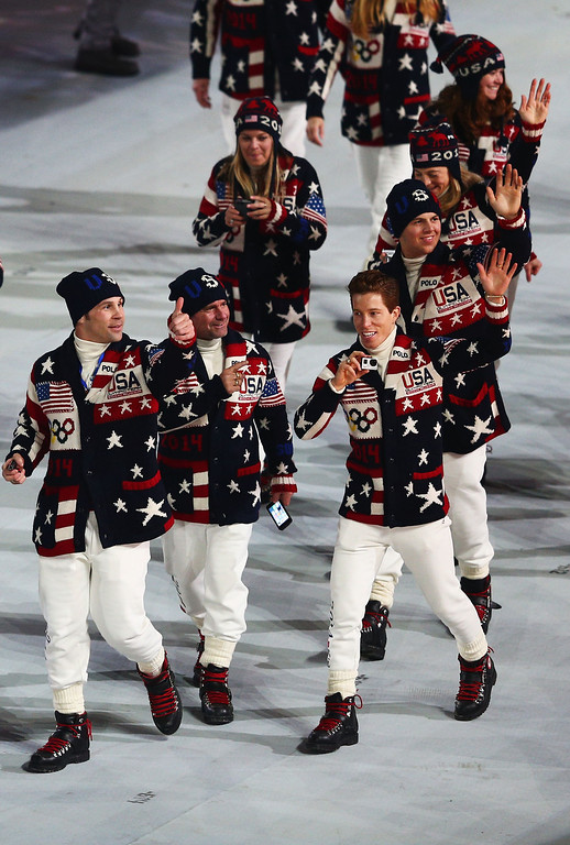 . Snowboarder Shaun White of the United States Olympic team enters the Opening Ceremony of the Sochi 2014 Winter Olympics at Fisht Olympic Stadium on February 7, 2014 in Sochi, Russia.  (Photo by Clive Mason/Getty Images)