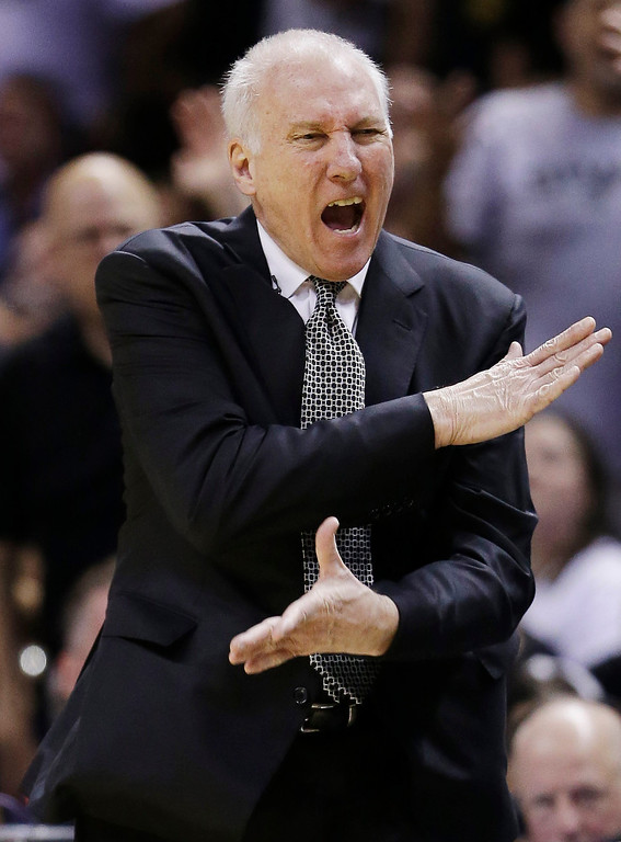 . San Antonio Spurs head coach Gregg Popovich reacts against the Miami Heat during the first half in Game 5 of the NBA basketball finals on Sunday, June 15, 2014, in San Antonio. (AP Photo/David J. Phillip)