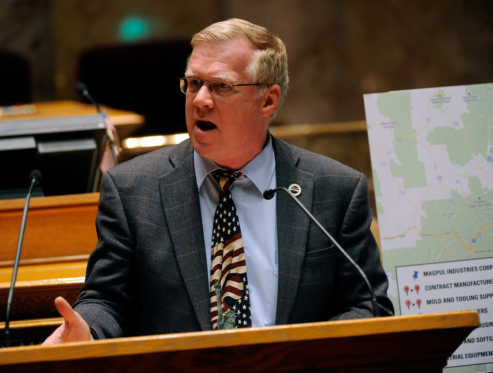 . DENVER, CO. - MARCH 8: Senator Kent Lambert (R-Colorado Springs) spoke out against House Bill 1224 that would limit ammunition magazines to 15 rounds Friday night. The Colorado Senate continued to debate various gun control measures Friday night, March 8, 2013. (Photo By Karl Gehring/The Denver Post)