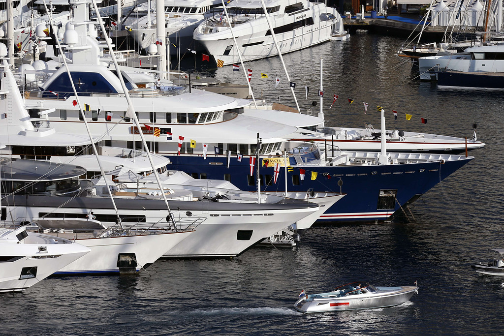 . A picture taken on September 25, 2013 shows a general view in Monaco with yachts moored at Port Hercules during the 23rd edition of the International Monaco Yacht Show.  AFP PHOTO / VALERY HACHE/AFP/Getty Images