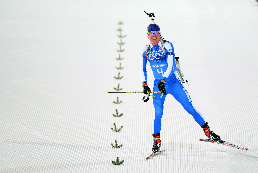 . Lukas Hofer of Italy competes in the 2 x 6 km Women + 2 x 7 km Men Mixed Relay during day 12 of the Sochi 2014 Winter Olympics at Laura Cross-country Ski & Biathlon Center on February 19, 2014 in Sochi, Russia.  (Photo by Harry How/Getty Images)
