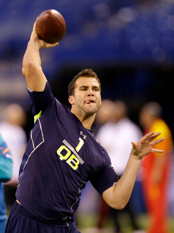 . Central Florida quarterback Blake Bortles throws during a drill at the NFL football scouting combine in Indianapolis, Sunday, Feb. 23, 2014. (AP Photo/Michael Conroy)