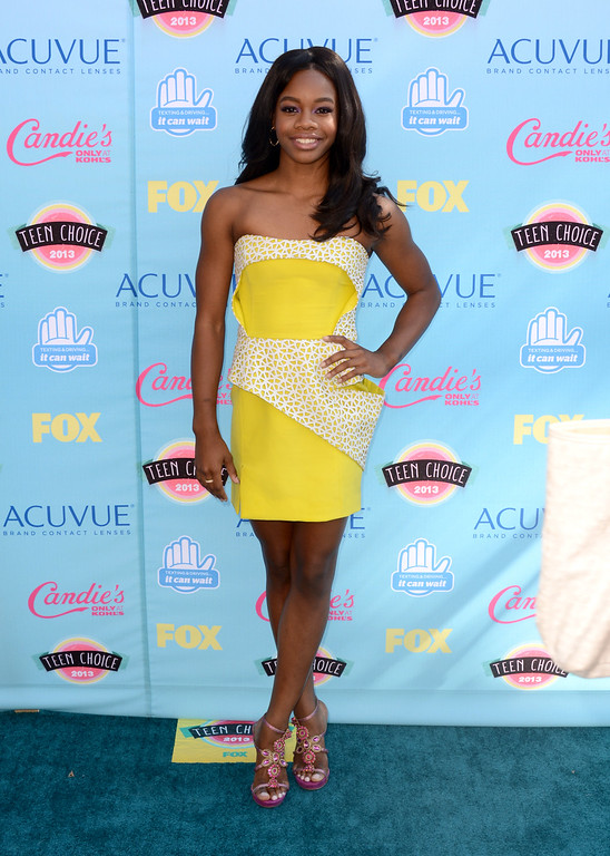 . Gabby Douglas arrives at the Teen Choice Awards at the Gibson Amphitheater on Sunday, Aug. 11, 2013, in Los Angeles. (Photo by Jordan Strauss/Invision/AP)