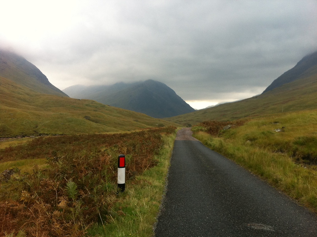 . This October 2013 photo shows a road in the Scottish Highlands into Glen Etive, Scotland. The Highlands are full of single-lane roads and moody scenery, a challenge for drivers but a delight for hikers, especially on wet days when trails are boggy. Scenes from the film ìSkyfall,î with Daniel Craig, was shot on this road. (AP Photo/Cara Anna)