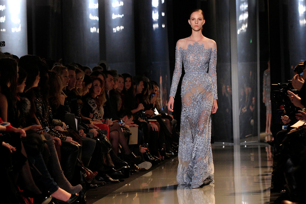 . A model presents a creation by Lebanese designer Elie Saab as part of his Haute Couture Spring-Summer 2013 fashion show in Paris January 23, 2013.       REUTERS/Gonzalo Fuentes