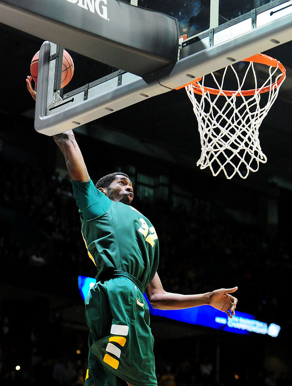 . TrayVonn Wright #32 of the North Dakota State Bison goes up against the San Diego State Aztecs in the first half during the Third Round of the 2014 NCAA Basketball Tournament at Spokane Veterans Memorial Arena on March 22, 2014 in Spokane, Washington.  (Photo by Steve Dykes/Getty Images)