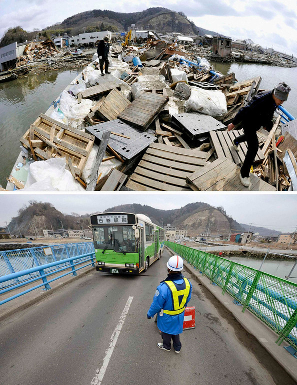 . The tsunami-devastated Ishinomaki, Miyagi prefecture, is pictured in this combination photo taken March 22, 2011 (top) and March 1, 2013, released by Kyodo on March 7, 2013, ahead of the two-year anniversary of the March 11 earthquake and tsunami.      REUTERS/Kyodo