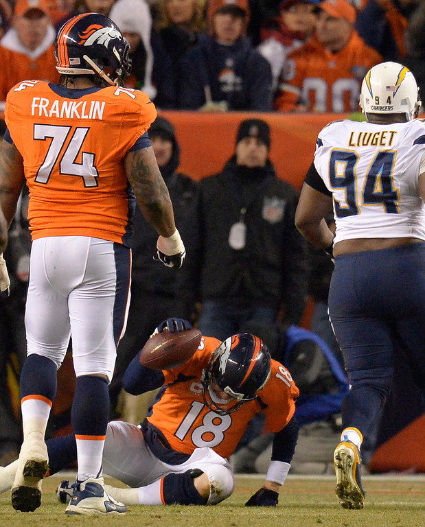 . Denver Broncos quarterback Peyton Manning (18) spikes the ball after being sacked  by San Diego Chargers strong safety (38) during the second quarter. The Denver Broncos vs. the San Diego Chargers at Sports Authority Field at Mile High in Denver on December 12, 2013. (Photo by John Leyba/The Denver Post)