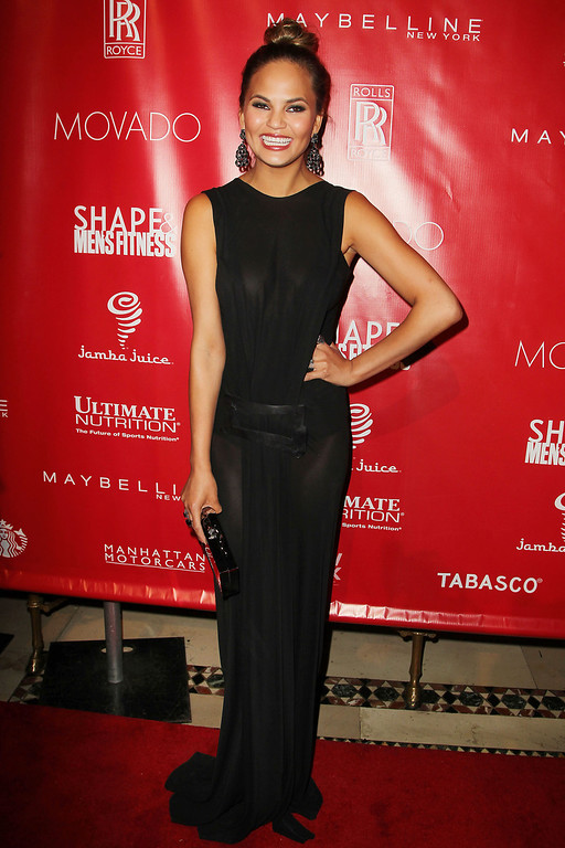 . This image released by Starpix shows model Chrissy Teigen at the Shape Magazine and Men\'s Fitness Super Bowl Party at Cipriani 42nd Street on Friday, Jan. 31, 2014, in New York.  (AP Photo/Starpix, Amanda Schwab)