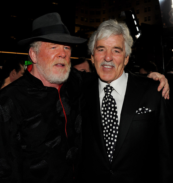 ". Actors Nick Nolte (L) and Dennis Farina arrive at the premiere of HBO\'s ""Luck\"" at the Chinese Theater on January 25, 2012 in Los Angeles, California.  (Photo by Kevin Winter/Getty Images)"