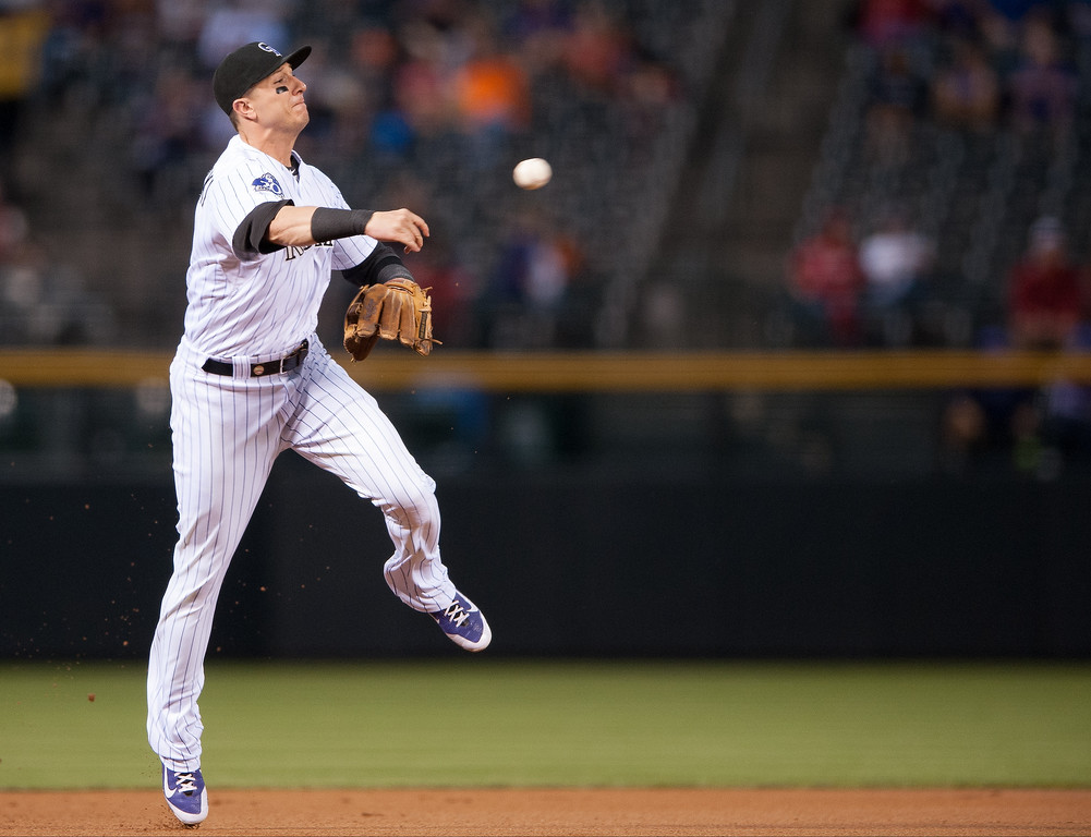 . Troy Tulowitzki #2 of the Colorado Rockies fields a ground ball and turns to throw to first base for an out in the first inning of a game against the St. Louis Cardinals at Coors Field on September 18, 2013 in Denver, Colorado. (Photo by Dustin Bradford/Getty Images)