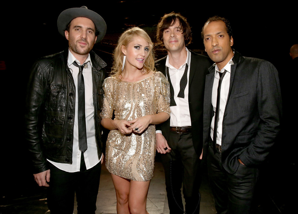 """. LOS ANGELES, CA - DECEMBER 16: (L-R) Musicians James Shaw, Emily Haines, Joules Scott-Key and Joshua Winstead of Metric attend \""""VH1 Divas\"""" 2012 at The Shrine Auditorium on December 16, 2012 in Los Angeles, California.  (Photo by Christopher Polk/Getty Images)"""
