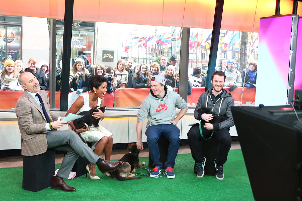 . In this image released on Friday, March 14, 2014, Sochi Dogs make an appearance on the Today Show with owners Winter Olympic silver medalist Gus Kenworthy and Robin Macdonald.  (Christopher Lane/AP Images for Humane Society International)