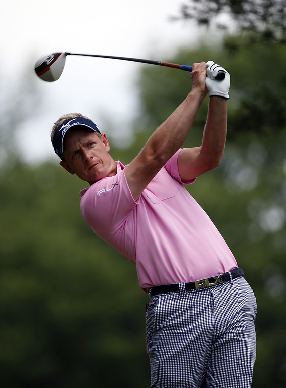 . Luke Donald of England hits his tee shot on the fifth hole during Round Two of the 113th U.S. Open at Merion Golf Club on June 14, 2013 in Ardmore, Pennsylvania.  (Photo by Rob Carr/Getty Images)