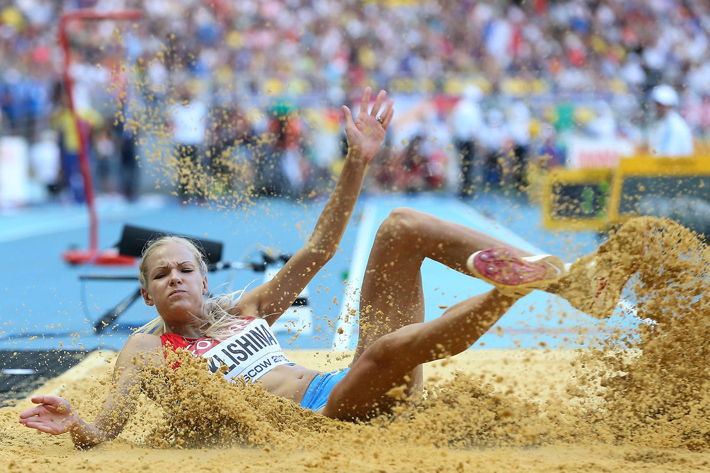 . Darya Klishina of Russia competes in the Women\'s Long Jump final during Day Two of the 14th IAAF World Athletics Championships Moscow 2013 at Luzhniki Stadium on August 11, 2013 in Moscow, Russia.  (Photo by Christian Petersen/Getty Images)