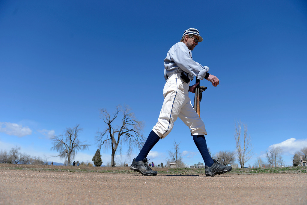 . DENVER, CO. - APRIL 14: Buckeye MItchell of the Denver Blue Stockings heads to the field for a  vintage baseball game against the Central City Stars April 14, 2013 at  Riverside Cemetery in Denver. (Photo By John Leyba/The Denver Post)