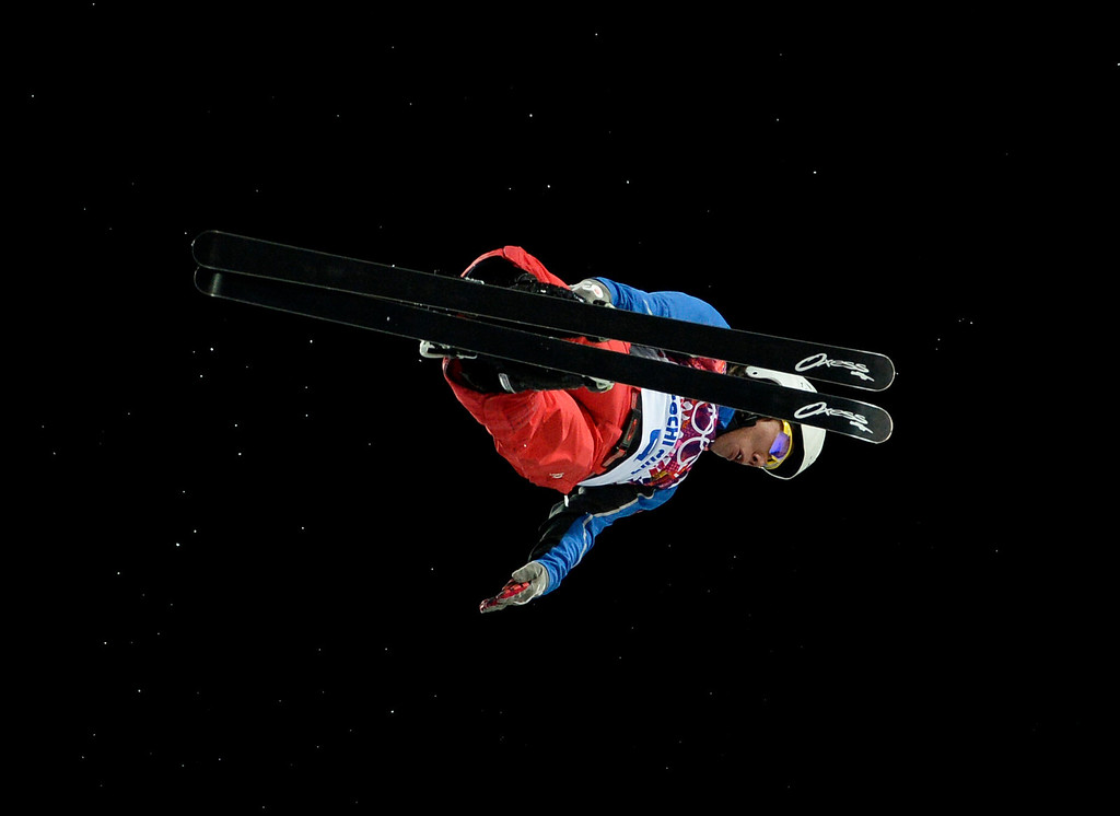 . China\'s Jia Zongyang competes in the Men\'s Freestyle Skiing Aerials finals at the Rosa Khutor Extreme Park during the Sochi Winter Olympics on February 17, 2014.  FRANCK FIFE/AFP/Getty Images