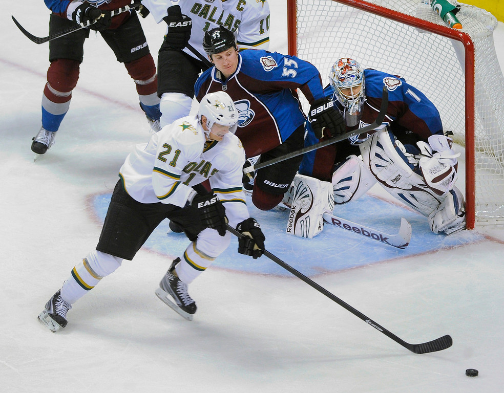 . DENVER, CO. - MARCH 12: Loui Eriksson (21) of the Dallas Stars skated for the puck in the third period. The Colorado Avalanche came back to beat the Dallas Stars 4-3 Wednesday night, March 19, 2013 at the Pepsi Center in Denver. (Photo By Karl Gehring/The Denver Post)