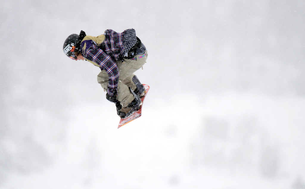 . VAIL, CO. - MARCH 1: Eric Willett of Frisco is in action during the men\'s slopestyle final of Burton U.S. Open. March 1, 2013. Vail, Colorado. (Photo By Hyoung Chang/The Denver Post)