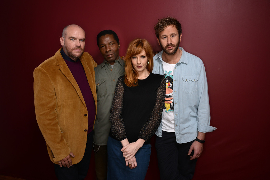 . (L-R) Filmmaker John Michael McDonagh, actors Isaach De Bankole, Kelly Reilly and Chris O\'Dowd pose for a portrait during the 2014 Sundance Film Festival at the WireImage Portrait Studio at the Village At The Lift on January 20, 2014 in Park City, Utah.  (Photo by Larry Busacca/Getty Images)
