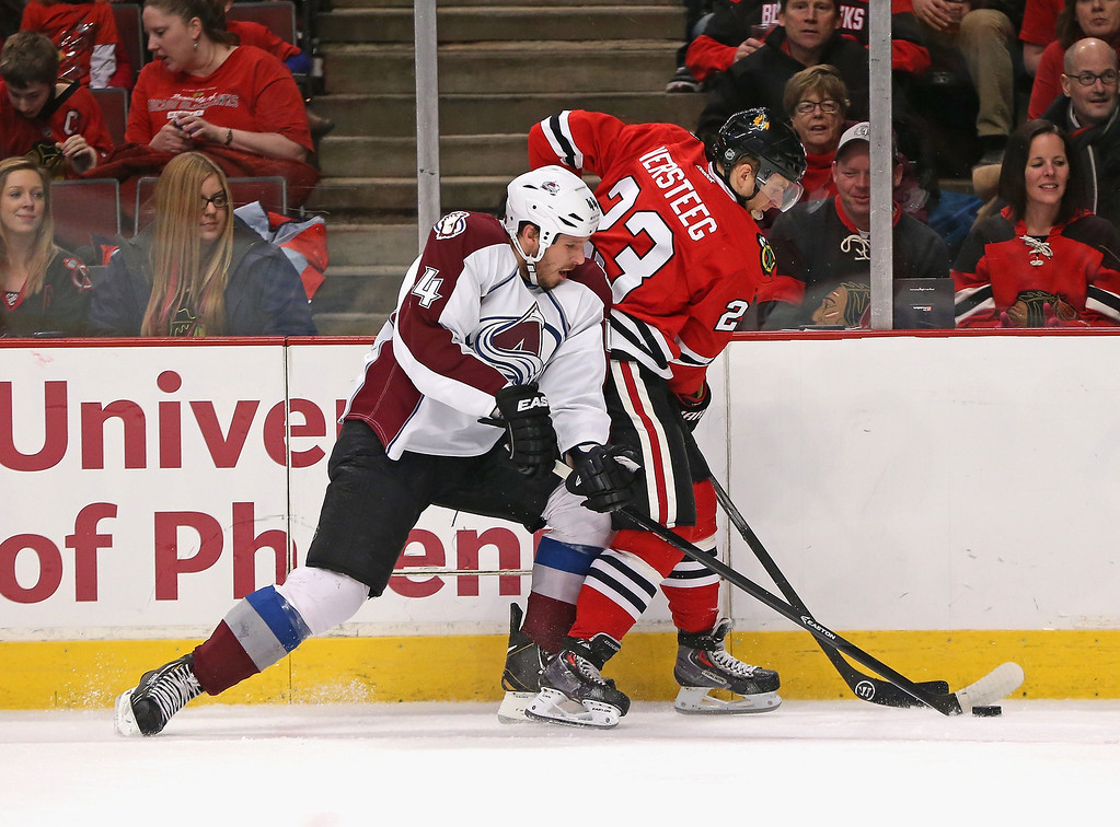 . CHICAGO, IL - DECEMBER 27: Kris Versteeg #23 of the Chicago Blackhawks battles for the puck with Ryan Wilson #44 of the Colorado Avalanche at the United Center on December 27, 2013 in Chicago, Illinois. (Photo by Jonathan Daniel/Getty Images)