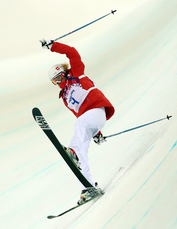 . Mirijam Jaeger of Switzerland crashes during the Women\'s Freestyle Skiing Halfpipe Final in Rosa Khutor Extreme Park at the Sochi 2014 Olympic Games, Krasnaya Polyana, Russia, 20 February 2014.  EPA/Michael Kappeler