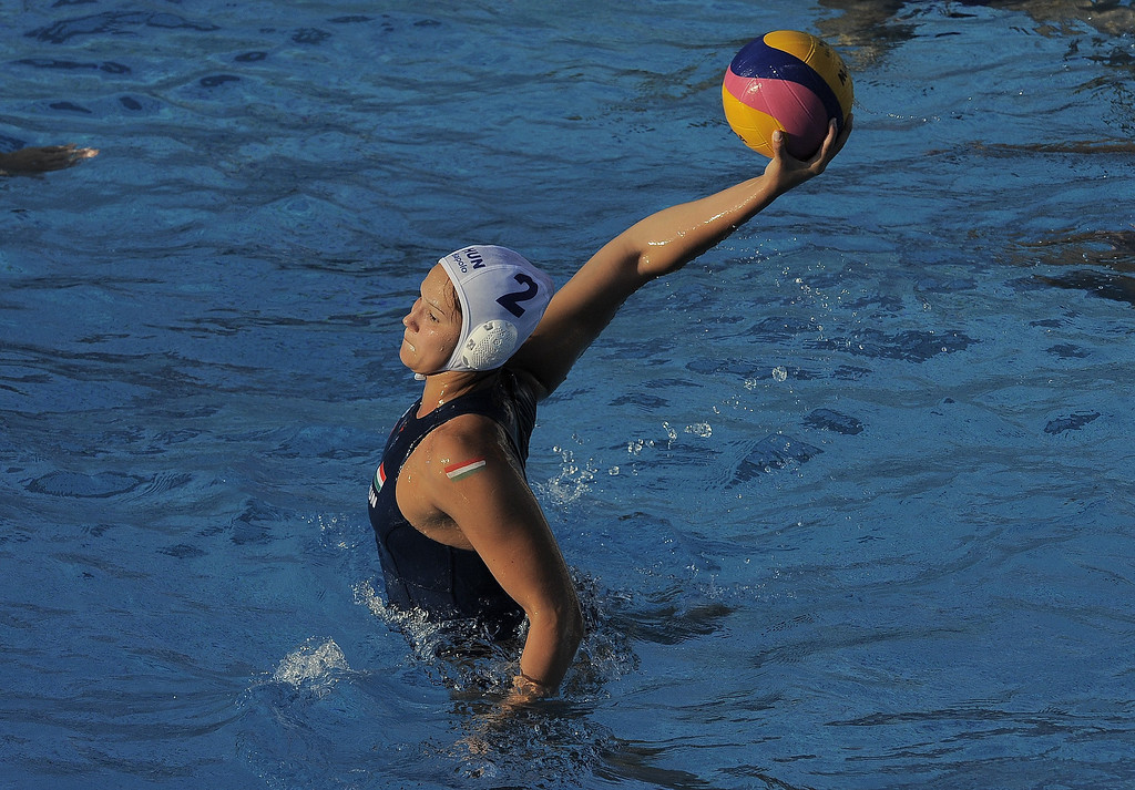 . Hungary\'s Anna Krisztina Illes scores a penalty against Brazil during the preliminary round of the women\'s water polo at the FINA World Championships on July 21, 2013 in Bernat Picornell pools in Barcelona. Hungary won the match 20-6     JOSEP LAGO/AFP/Getty Images