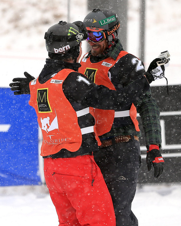 . (L-R) Nate Holland and Seth Wescott of the USA celebrate after winning the USANA Snowboardcross World Cup Team Event on December 15, 2012 in Telluride, Colorado.  (Photo by Doug Pensinger/Getty Images)
