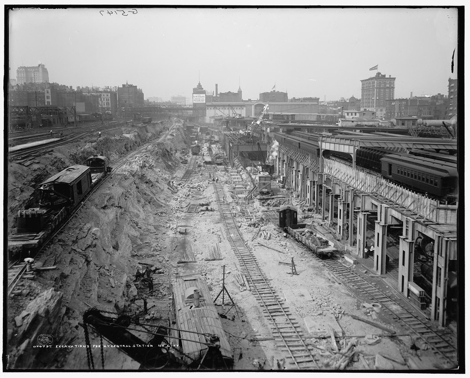 . Excavations for the construction of Grand Central Station in New York 1908. It made its debut in the heyday of cross-country train travel, faced demolition in the era of the auto, and got a new lease on life with a facelift in its eighth decade. Now Grand Central Terminal, the doyenne of American train stations, is celebrating its 100th birthday. Opened on Feb. 2, 1913, when trains were a luxurious means of traveling across America, the iconic New York landmark with its Beaux-Arts facade is an architectural gem, and still one of America\'s greatest transportation hubs. REUTERS/Courtesy of Library of Congress/Handout