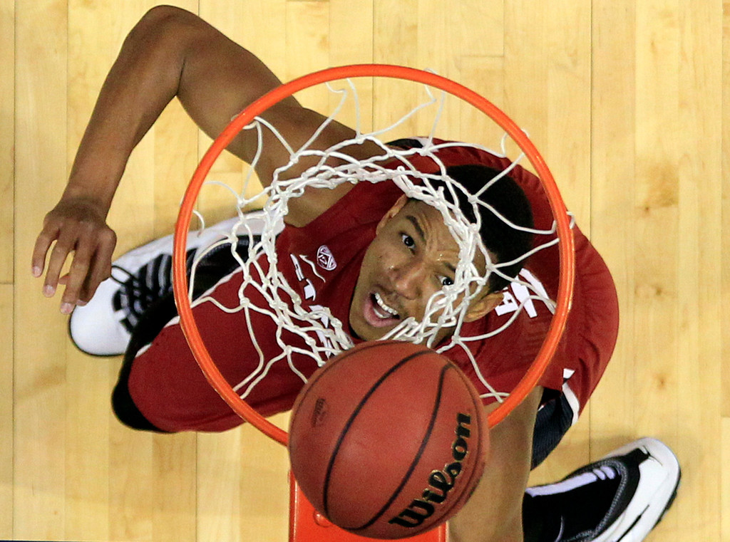 . Stanford\'s Anthony Brown watches his shot during the second half of a second-round game against New Mexico in the NCAA college basketball tournament Friday, March 21, 2014, in St. Louis. Stanford won 58-53. AP Photo/Jeff Roberson)