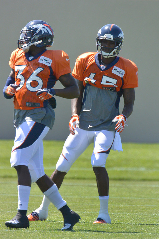 . Denver Broncos CB Dominique Rodgers-Cromartie (45) works on drills during training camp July 31, 2013 at Dove Valley. (Photo By John Leyba/The Denver Post)