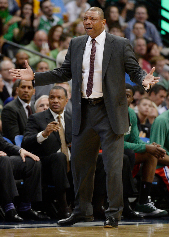 . Los Angeles Clippers head coach Doc Rivers reacts to a call during the third quarter. (Photo by John Leyba/The Denver Post)