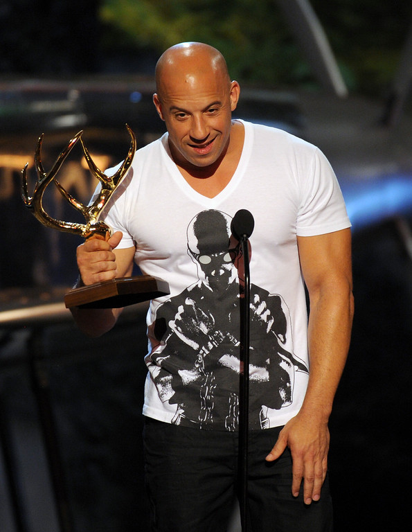 . Vin Diesel accepts the troops choice award at Spike TV\'s Guys Choice Awards at Sony Pictures Studios on Saturday, June 8, 2013, in Culver City, Calif. (Photo by Frank Micelotta/Invision/AP)