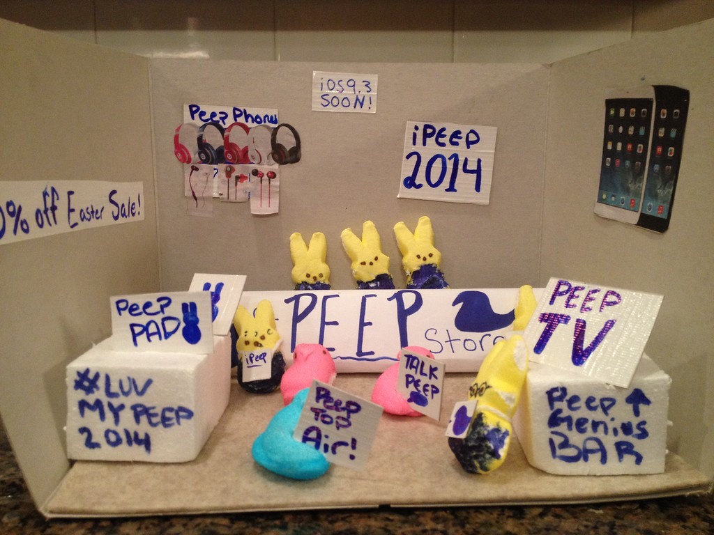 . The Peep store featuring a peep Genius Bar and the new iPeep  By Allie Kolpak, age 12.