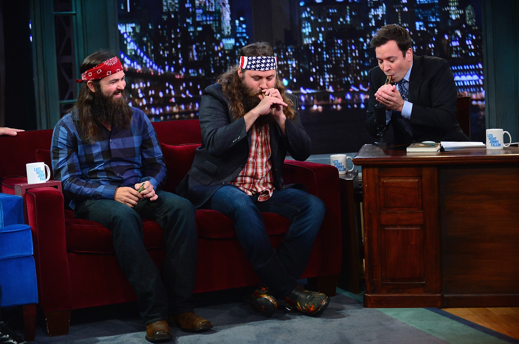 ". Jase Robertson, Willie Robertson and Jimmy Fallon during a taping of ""Late Night With Jimmy Fallon\"" at Rockefeller Center on September 9, 2013 in New York City.  (Photo by Theo Wargo/Getty Images)"